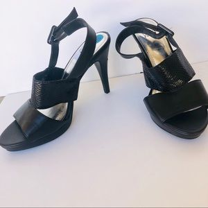 Brand New Impo Black Faux Snakeskin Strap Heels